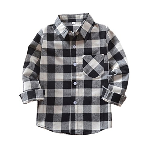 (Tortor 1Bacha Little Boys' Long Sleeve Button Down Plaid Flannel Shirt (Black White, 7-8 Years))