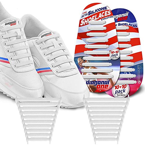 65ab9d45af8c9 DIAGONAL ONE No Tie Shoelaces for Kids & Adults. The Elastic ...