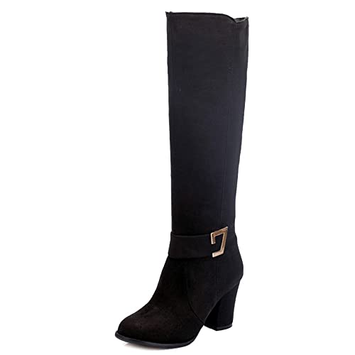 unparalleled strong packing biggest selection SJJH Women Knee-High Boots with Chunky Heel and Suede Material Women Boots  with Large Size and 3-Colors Available