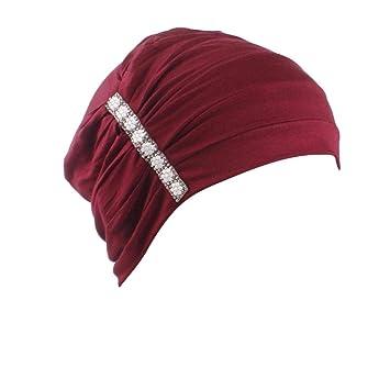 9365091f453 Amazon.com   Boomdan Women Muslim Stretch Turban Velvet Head Wrap Cap Hat  Hair Cover (Wine)   Beauty