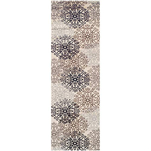 Superior Elegant Leigh Collection Area Rug, 8mm Pile Height with Jute Backing, Chic Contemporary Floral Medallion Pattern, Anti-Static, Water-Repellent Rugs - Beige, 2'7