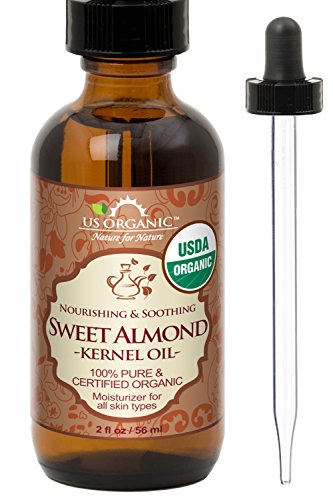 New_US Organic Sweet Almond Kernel Oil, USDA Certified Organic,100% Pure & Natural, Cold Pressed Virgin, Unrefined in Amber Glass Bottle w/Glass Eyedropper for Easy Application (2 oz (56 ml)) (Certified Sweet Organic)