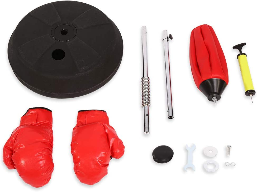 /150/cm Red Punch Bag Adult Boxing Training Set with Gloves and Stand Adjustable Height 120/