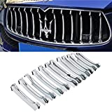 YOCTM Car Styling Grill Chrome Trim 12pcs Front Grille Decorative Garnish Trim for Maserati Ghibli 2013-2017 Parts Accessories