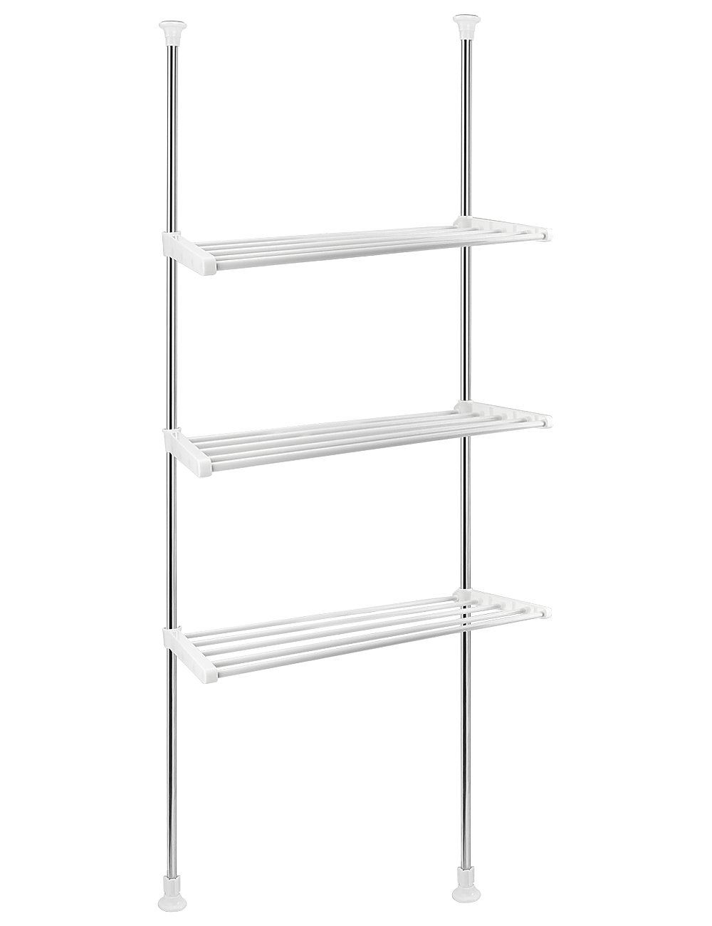 Caeser Archy Telescopic Bathroom Shelves Stainless Steel Caddy Shelf Unit Shower Rack Towel Rail Corner Storage Shelving 3 Tier Retractable Poles Height 110 to 310 cm No Screw Drilling Required White