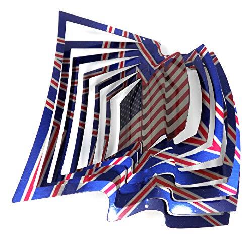 WorldaWhirl Whirligig 3D Wind Spinner Hand Painted Stainless Steel Twister Flag (12