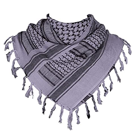 HDE Military Shemagh Neck Scarf Desert Tactical Style Head Wrap Keffiyeh Checkered Scarf (Gray) (Palestinian Scarf For Men)