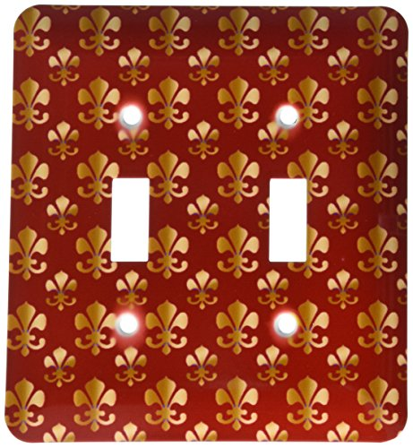 3dRose lsp_30759_2 Gold Fleur De Lis Pattern On A Maroon Background Christian Saints Symbol Double Toggle Switch by 3dRose