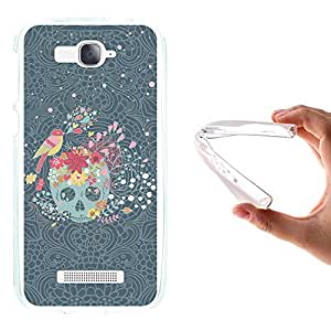 Funda Alcatel One Touch Pop C7, WoowCase [ Alcatel One Touch Pop C7 ] Funda Silicona Gel Flexible Calavera con Flores y Pájaro, Carcasa Case TPU Silicona - Transparente