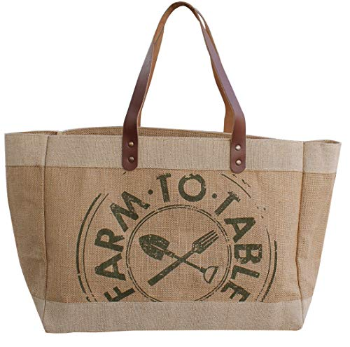 Earthwise Reusable Grocery Bag Shopping Tote Cotton Jute Burlap with Leather Handle - Water Resistant Laminated Inner Lining Great for Beach Picnics Farm to Table Print 16.75 inches W x 12.5 inches H