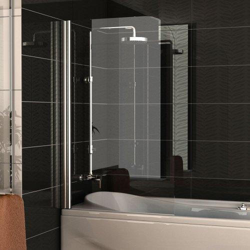 Badewannenabtrennung Echtglas / Trennwand ca. 75 x 130 cm / Badewanne / Duschabtrennung aus Sicherheitsglas / Dusche Duschwand / Duschkabine Klappbar Drehtür