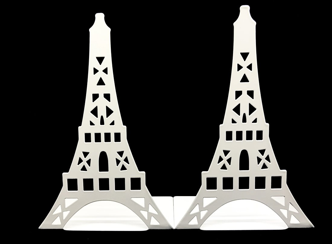 Arsdoll Hollow out France Paris Landmark Eiffel Tower Heavy Duty Nonskid Iron Metal Bookend Book Holder For Office School Library Home Study Decoration Gift (White)