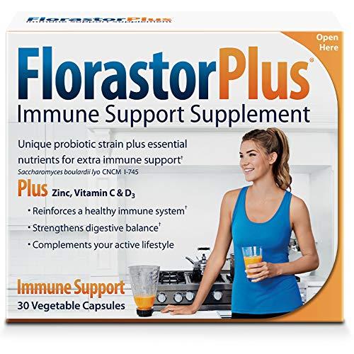 Florastorplus Daily Probiotic Supplement for Men & Women – Saccharomyces Boulardii Lyo Cncm I-745 Plus Zinc, Vitamin C & D3 (30 Capsulesper Box)