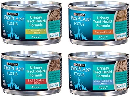 Purina Pro Plan Focus Wet Cat Food Urinary Tract Health UTH Variety Pack, 4 Flavors, 3-Ounce Cans 12 Total Cans