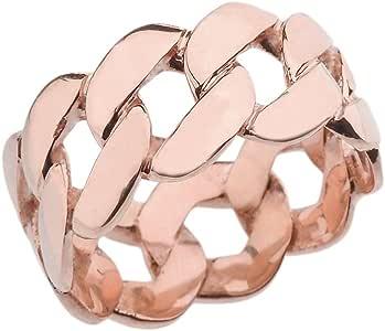 Amazon.com: 10k Elegant Rose Gold 11 mm Unisex Miami Link
