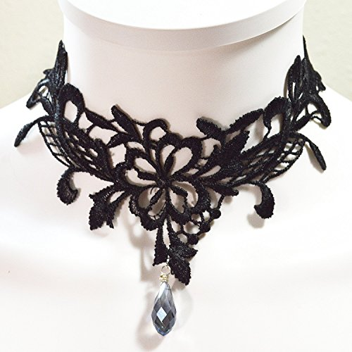 Blue Crystal Glass Drop Black Choker Necklace Gothic Victorian Jewelry Collar - Made in USA with Quality Materials (Crystal Blue Victorian)