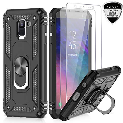 Samsung Galaxy A6 Case with Tempered Glass Screen Protector [2 Pack], LeYi [Military Grade] Defender Protective Phone Case with Magnetic Car Ring Holder Mount Kickstand for Samsung A6, JSFS Black