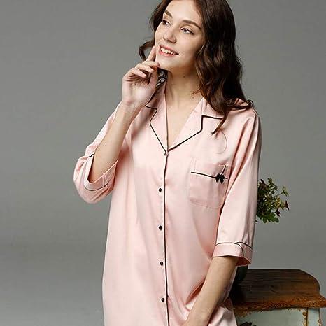 Pajamas Traje de Pijama, Algodón con Bolsillos Albornoz, Vestido de Camisa Femenina Vestido de Noche de Fibra de poliéster de Seda Hebilla Abierta Pijamas de Color sólido, Sección Delgada Cinco - Pun: