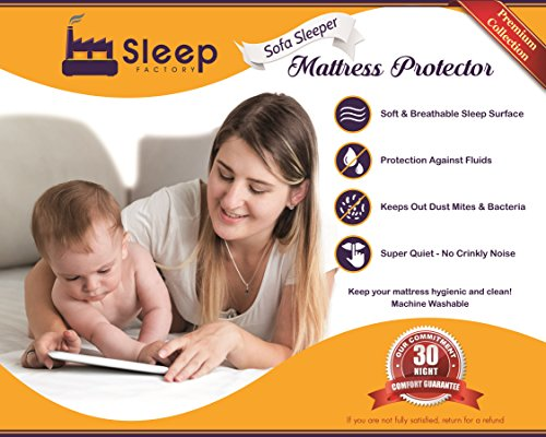 "Sleep Factory – Mattress & Sofa Bed Sleeper Protector | Total Safety From Spillage & Dust Mite, Hypoallergenic, Waterproof, Premium 100% Jersey Cotton Top, Full Size (54×80″), 6"" Depth, White"