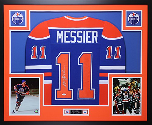 Mark Messier Autographed Oilers - Mark Messier Autographed Blue Edmonton Oilers Jersey - Beautifully Matted and Framed - Hand Signed By Mark Messier and Certified Authentic by JSA - Includes Certificate of Authenticity