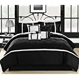 Chic Home Vermont 8-Piece Comforter Set, Queen, Black/White