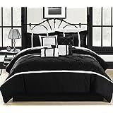Chic Home Vermont 8-Piece Comforter Set, King, Black/White