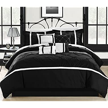 Chic Home Vermont 8-Piece Comforter Set, King, Black/White
