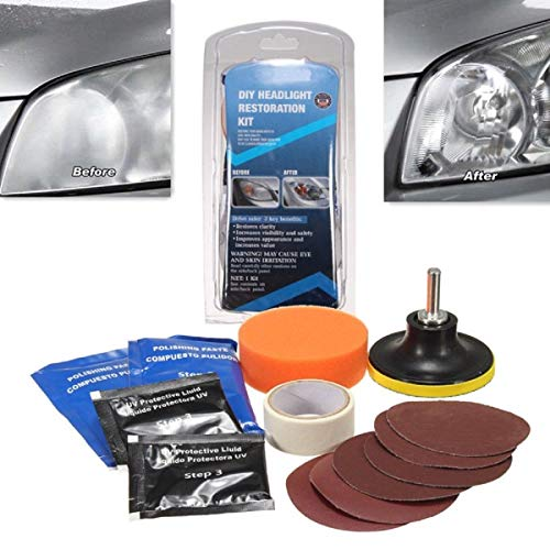 Ocamo Headlight Restoration Kit DIY Headlamp Brightener for Car Auto Care Head Lamp Lense Repair Tool