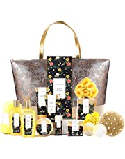 Spa Gifts for Women, Spa Luxetique Spa Gift Basket, Luxury 15pc Home Bath and Body Set Includes Bath Bombs, Bubble Bath, Hand Cream, Body Lotion, Handmade Tote Bag, Beauty Christmas Gifts for Women and Men