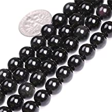 "Natural Round Black Obsidian Rainbow Gemstone Beads For Jewelry Making Loose Beads In Bulk Wholesale Beads Handmade DIY One Strand 15"" (8mm, GI1948)"