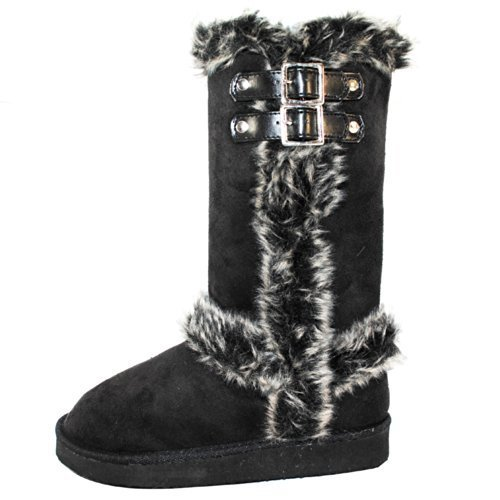 Faux Fur Lined Mid-calf Boots with Buckles for Women (6, Black)