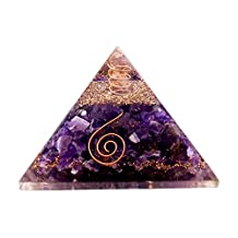 Aatm Reiki Energized chakra healing Amethyst Orgone Pyramid With Clear Crystal Gemstone Copper Metal / EMF Protection Meditation Yoga Energy Generator (Stone of Spirituality & Peace Of Mind)