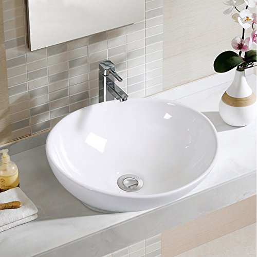 Giantex Oval Bathroom Basin Ceramic Vessel Sink Bowl Vanity Porcelain w/ Pop Up (Bowl Ceramic Sink)