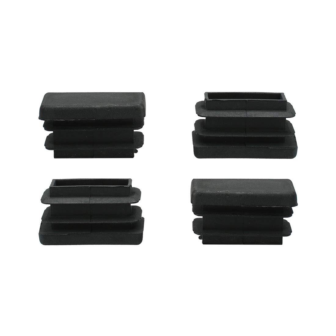 uxcell 4pcs 15 x 30mm Plastic Rectangle Ribbed Tube Inserts End Cover Cap, Indoor and Outdoor Furniture Chair Table Desk Feet Floor Protector