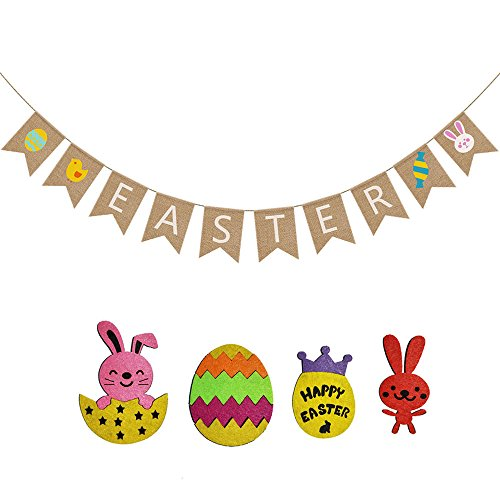 Asommet Happy Easter Burlap Banner Colorful Bunny Pattern Bunting Garland Flags Easter Hanging Ornaments Home Party Kitchen Decor Favors Photo Props