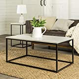 Walker Edison AZ42LWSQMB Marble Modern Metal Frame Open Rectangle Coffee Accent Living Room Ottoman End Table, 42 Inch