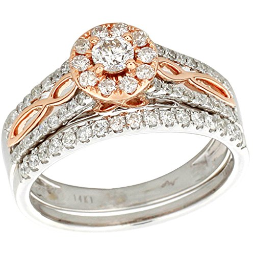 14K Rose and White Gold Bridal Set 0.75ctw Two Tone 2 Piece Set