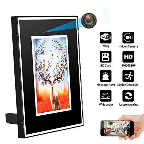 JLRKENG Hidden Spy Camera WiFi Picture Photo Frame Home Security Camera Motion Detection Loop Recording Wireless Nanny Cam with Rechargeable Battery