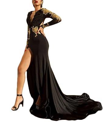 Ri Yun Sexy Side Slit Backless V-Neck Mermaid Prom Dress 2018 Long Sleeves  Black 4ca784c76
