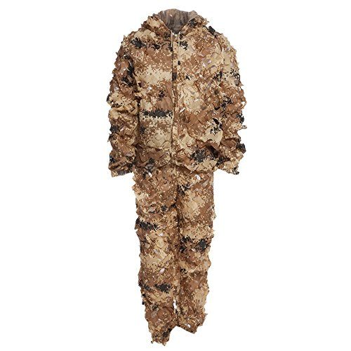 Stylrtop 3D Bionic Leaf Camouflage Jungle Hunting Ghillie Suit Set (Desert Camouflage)