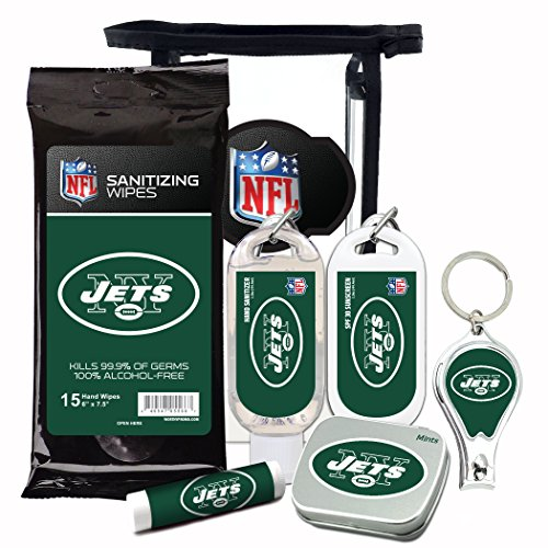 New York Jets 6-Piece Fan Kit with Decorative Mint Tin, Nail Clippers, Hand Sanitizer, SPF 15 Lip Balm, SPF 30 Sunscreen, Sanitizer Wipes. NFL Football Gifts for Men and (Nfl Ball Cap Ornament)