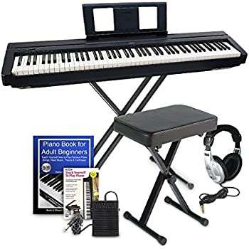 yamaha p45 digital piano deluxe bundle with furniture stand and bench musical. Black Bedroom Furniture Sets. Home Design Ideas