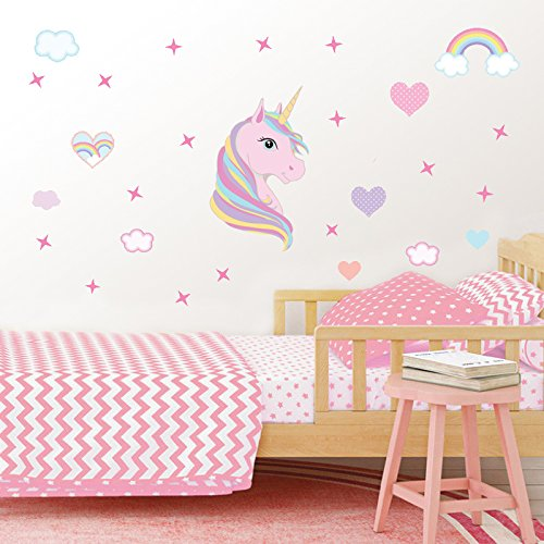LHKSER Unicorn Wall Sticker/Cute Pink Unicorn with Rainbow & Star Wall Decor for Nursery Room/Lovely Unicorn Gifts for Girls (Star Moon)