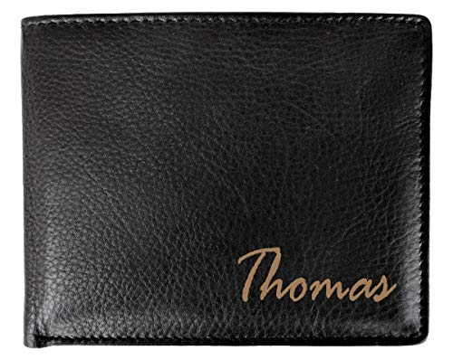 Customized Black Leather RFID Blocking Card Name Wallet Engraved Dad Daddy Brother Women's Birthday Travelers Business Gift