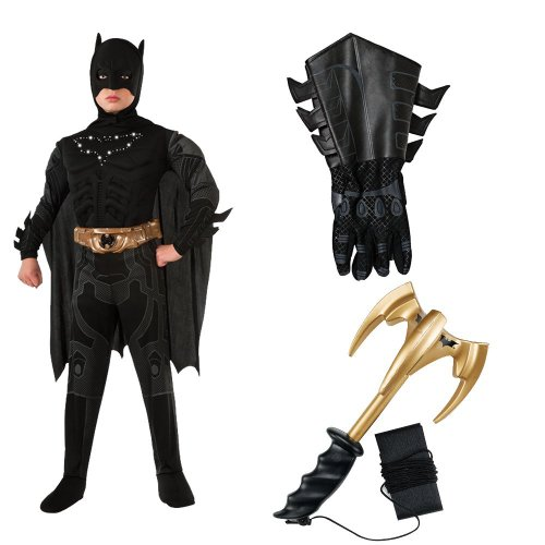 Batman Light-Up Child Costume with Gauntlets and Grappling Hook, L (12-14) (Grappling Black Batman Hook)