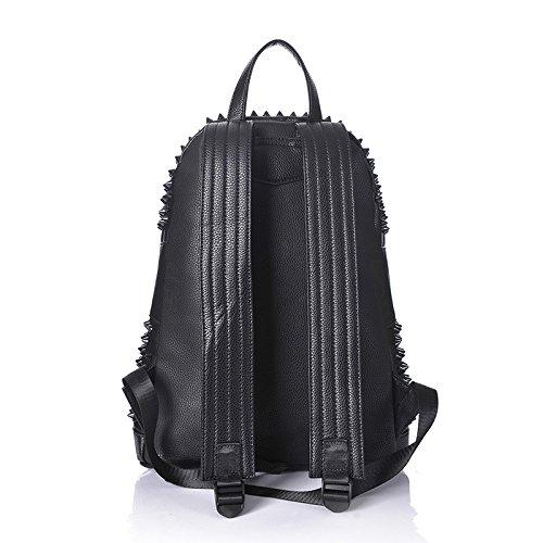 WTUS Hombre Nuevos hombres de 2017 la mochila de moda hombre de personalidad remaches paquetes de bolsas de ocio negro