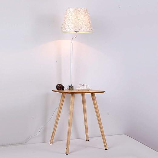 PNYGJLDD Lámpara de pie de Madera Moderna E27 Mesa de Libro de Madera Maciza/Pantalla de Tela Mesita de Noche para el Dormitorio Luz de Lectura Sofá de salón Negro 129 * 40CM: