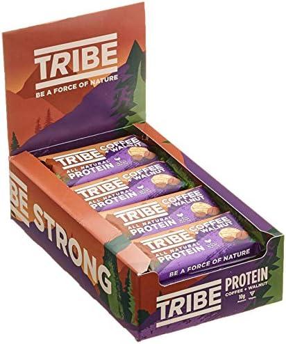 TRIBE Nutrition Natürlicher veganer Protein riegel, gluten- und milchfreies Pflanzeneiweiß, Kaffee- und Walnussaroma - 58 g Packung mit 16 Stück