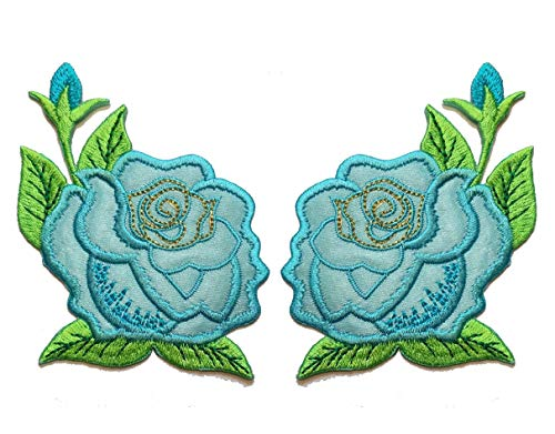 Nipitshop Patches Blue Rose Flower Embroidery Lace Flower Fabric Applique Sew on Patches Embroidered Patch DIY for Clothings Jeans Skirt Vests Scarf Hat Backpacks
