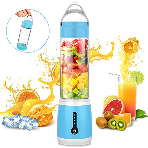 Portable Blender, Cshid-us Personal Juicer Cup for Shakes and Smoothies, Six Blades Fruit Mixing Machine with 4000mAh USB Rechargeable Batteries, Ice Tray, Detachable Cup, Perfect Blender for Personal Use 480ml ()